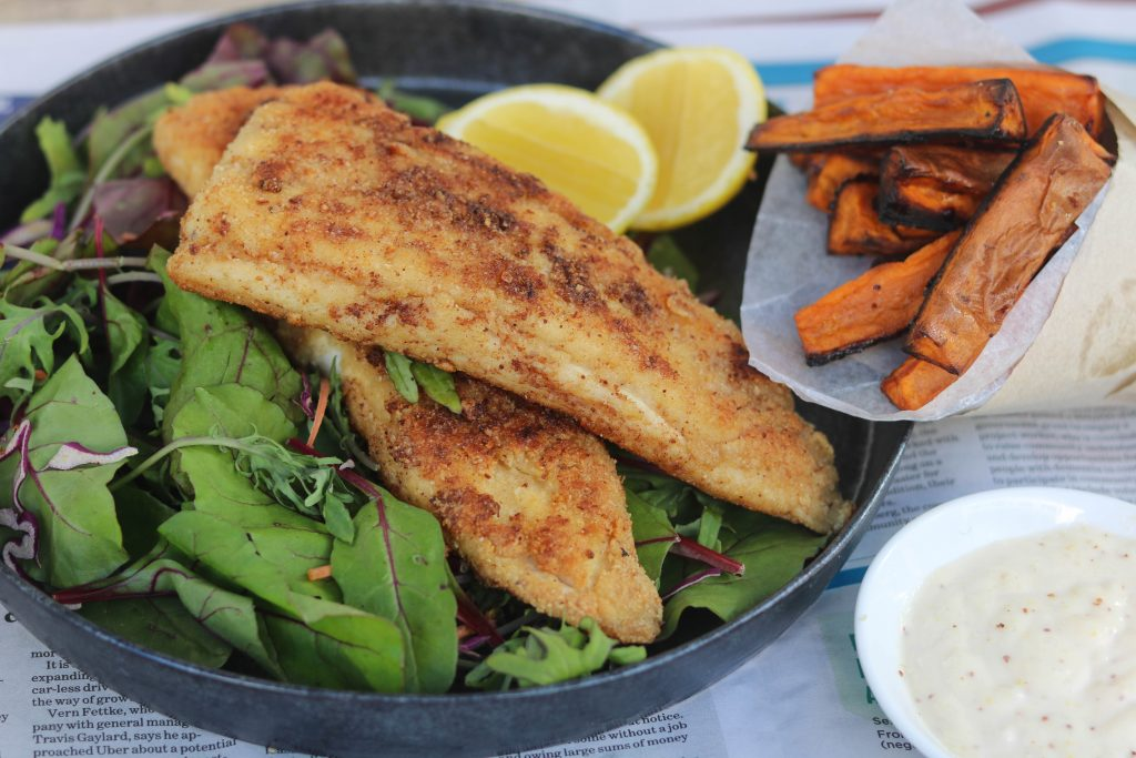 Almond Crusted Fish with Sweet Potato Chips